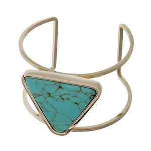Cuff Bracelet with Turquoise Stone
